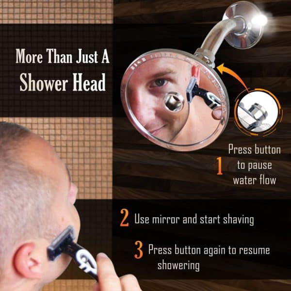 Reflections™ Shower Head and Fogless Shaving Mirror In-One